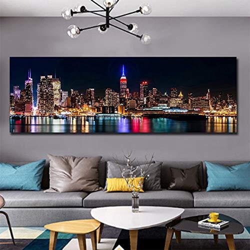 Jbclly Singel Panel Big Size Digital Fotodrucke Stadtgebäude Nachtansicht Fotografie Wandkunst Bilder Moderne Dekoration Bilder A5 70X120CM