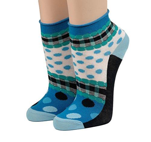 CRÖNERT Socken Kurzsocken Söckchen Punkte mit Rollrand (39-42, blau)