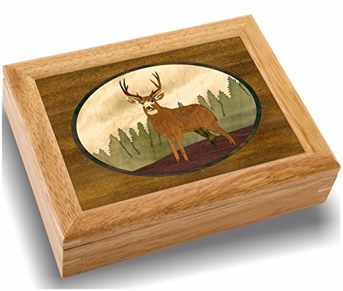 MarqART Deer Wood Art Trinket Jewelry Box & Gift - Handmade USA - Unmatched Quality - Unique, No Two are The Same - Original Work of Wood Art (#2127 Lone Buck 6x8x2)