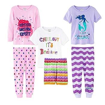 Girls  6-Piece Snug-Fit Cotton Pajama Set  Mermaid/Unicorn 12