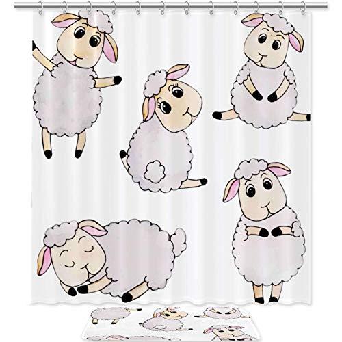 Better Home Style 2-teiliges Badezimmerteppich-Set, einfarbig, modernes Design, inklusive Badvorleger, Duschvorhang, niedliches Schaf, 2-teilig