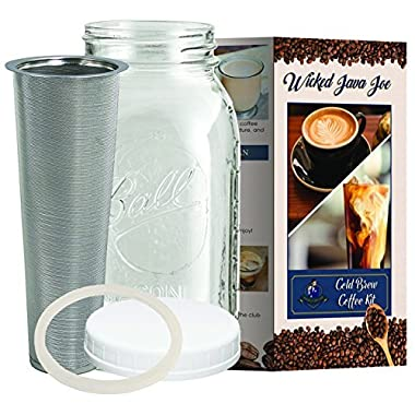 Large Cold Brew Coffee Maker - 2 Quart/64 ounce Classic Ball Mason Jar and Durable Stainless Steel Filter Makes Amazingly Rich Cold Brew Iced Coffee and Tea
