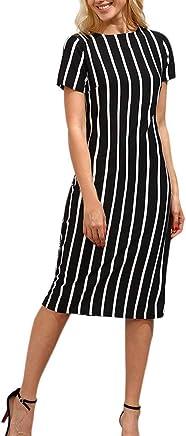 Dress for Women,JFLYOU Short Sleeve Striped Knee Length Dress Loose Party Midi Dress