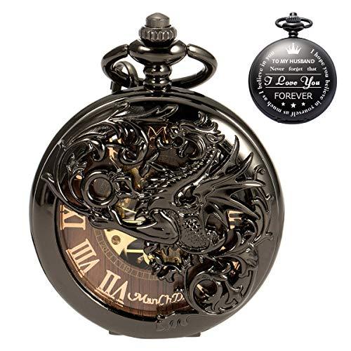 ManChDa Taschenuhr für Ehemann, personalisierbar, Vintage-Design, mit Drachenmotiv, mit Kette für Herren, Jahrestagsgeschenk, Valentinstagsgeschenk, schönes Geschenk für Familie