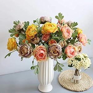 2 Heads Silk Peony Artificial Royal Lotus Peony Flower Branch 1pcs