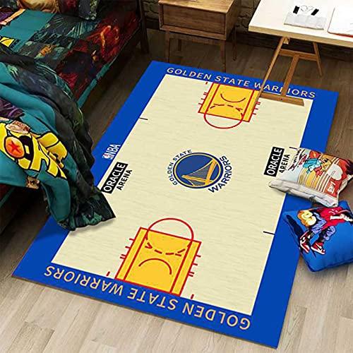 GPUI Alfombra de baloncesto Golden State Team Home Idoor, alfombra de salón, dormitorio, mesita de noche, baloncesto, deportes, estrellas, 100 x 200 cm