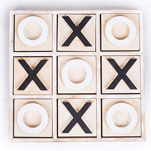 JEVERGN Tic Tac Toe Giant Wooden Coffee Table Games Classical Family Board Game with Decor Strategy Board Games for Adult and Kids Whitewashed