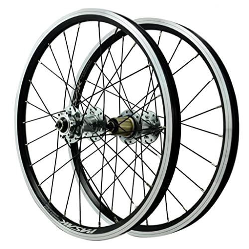 Bike Rim 20 Pulgadas Bicicleta Wheelset Bmx 406 Rim Disco / V- Frena Rueda Rápida Rueda De Bicipa De Bicipa 32 Hablado 7/8/9/10/11 Cassette De Velocidad Eje De Liberación Rápida Axiles Ac(Color:plata)