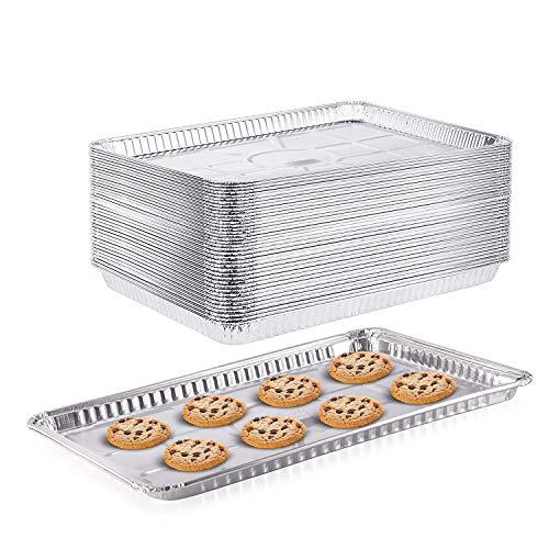"""(100 Pack) 1/2 Cookie Sheet Baking Cake Pans l 17.7"""" x 13"""" Disposable Aluminum Foil Trays l Premium Heavy Duty Nonstick Baking Sheets Reusable"""