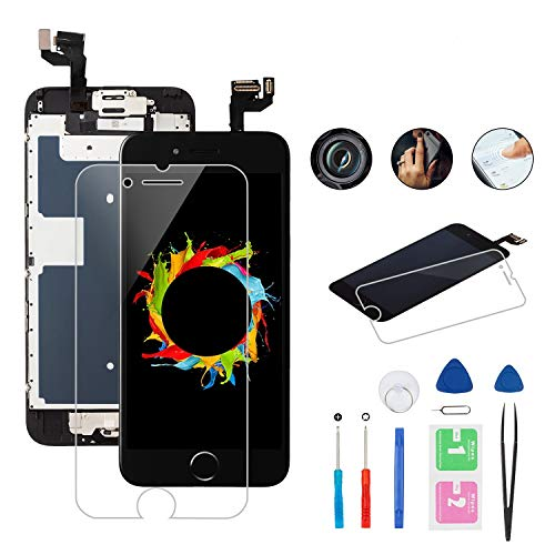 CYKJGS for iPhone 6S Screen Replacement Black LCD Touch Digitizer Display 4.7 inch Full Assembly for iPhone A1633, A1688, A1700 with Home Button Speaker Front Camera Proximity Sensor+Repair Tools