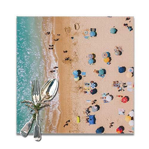 People On Algarve Beach in Portugal Drohne Fotografie Luftantenne Foto Ozean Wandkunst waschbar rutschfest Tischsets hitzebeständig Esstisch Platzsets für Küche Tisch Mats 30,5 x 30,5 cm Set von 6