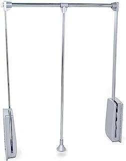 Emuca - Barra de armario abatible perchero basculante colgador abatible para armario anchura regulable 600-830mm acaba...