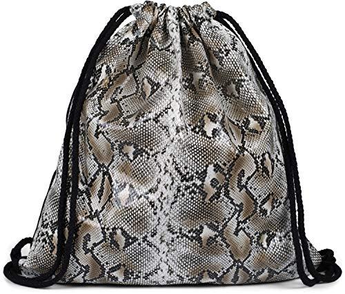styleBREAKER Dames gymtas met oppervlak in python slang look, rugzak, sporttas, tas 02012336, Farbe:Beige-zwart