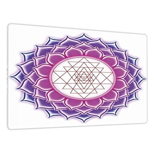 Alfombrilla de ratón para Juegos,Flor de Yantra de geometría con ilustración de Yoga de triángulo,Escritura de Escritorio Impermeable de Goma Antideslizante para Oficina y hogar 800×300×3mm