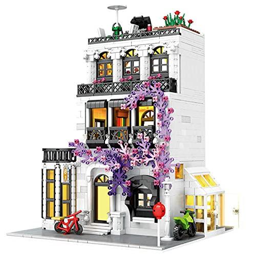 SOTUISA 2053 Urban European Garden Street Villas High - Grade Model Building Block Person Brick Education Children 's Toy Gift