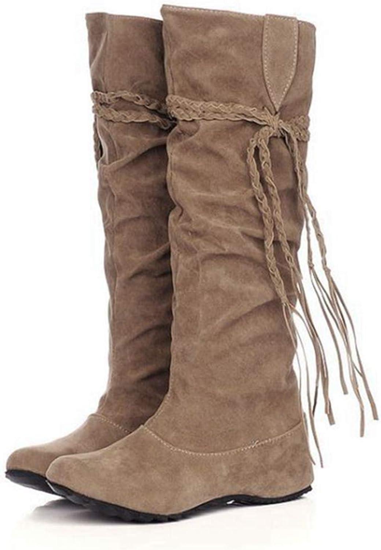 GIY Women's Mid Calf Slouch Boot Comfortable Slip On Round Toe Tassel Flat Heel Hidden Wedge Knee High Boots