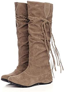 1268981572f5 GIY Women s Mid Calf Slouch Boot Comfortable Slip On Round Toe Tassel Flat  Heel Hidden Wedge