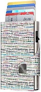 TRU VIRTU® Tarjetero Click & Slide Bamboo Crema/Plata I Estuche para Tarjetas de crédito I Tarjetero con protección RFID-N...