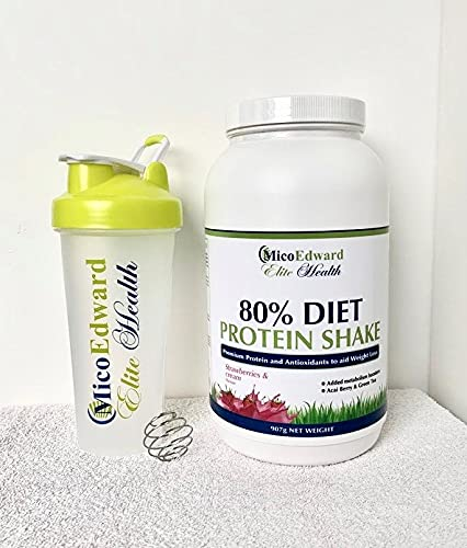 600ml Shaker Bottle Cup & Diet Protein Strawberries and Cream Flavoured Bundle