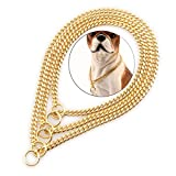 Petoo Set of 3 Pcs Choke Cuban Chain Dog Collar Metal ,12'&14'&16',18K Gold Dog Collar, Width 6mm,Strong Stainless Steel Links Slip Chain Luxury Training Collar for Small Medium Dogs &Cats (Gold)
