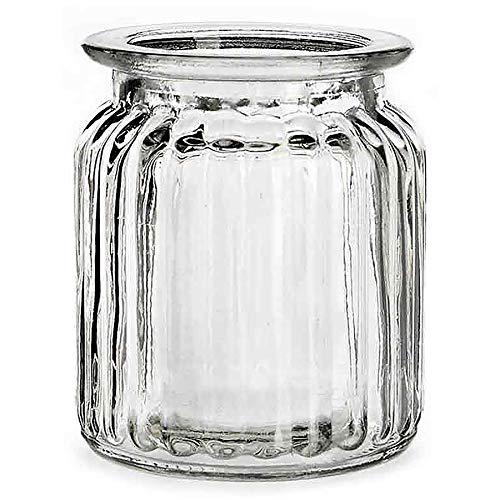 12 x Windlichter im Vintage Look H 9 cm - Teelichtgläser Glaswindlichter Tischdeko für Hochzeit - Glaswindlichter