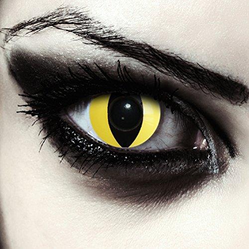 Designlenses, gelbe farbige Katzen Kontaktlinsen ohne Stärke für Halloween Kostüm