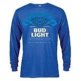 Bud Light Label Long Sleeve Men's Heather Tshirt XX-Large Blue
