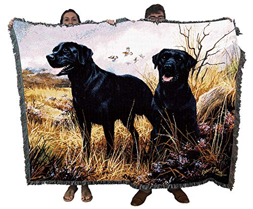 Pure Country Weavers Labrador Retriever Black Lab Robert May Blanket Throw Woven from Cotton - Made in The USA (72x54)
