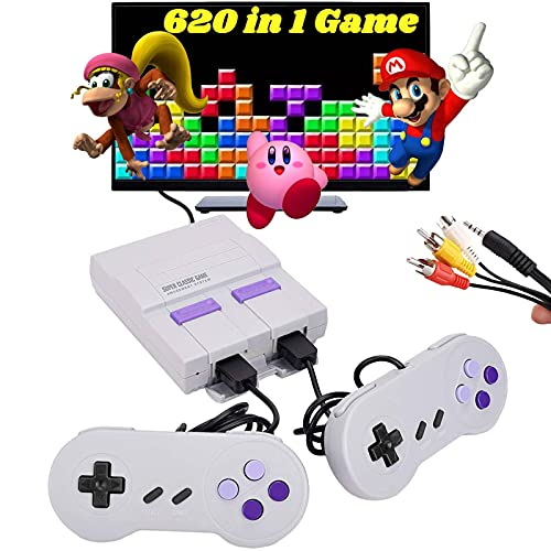620 Retro Game Console,Classic Mini NES Game System with Preloaded Video Games and 2 NES Classic Controllers,AV Output Plug&Play NES Console for Kids and Adults
