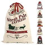 <span class='highlight'><span class='highlight'>FlowersSea</span></span> Christmas Santa Sack Stocking Xmas Gift Large Vintage Hessian Jute Drawstring Bags Presents (70 * 50cm, 6)