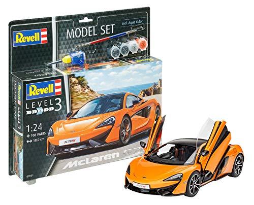 Revell Modellbausatz Auto 1:24 - McLaren 570S im Maßstab 1:24, Level 3, originalgetreue Nachbildung mit vielen Details, , Model Set mit Basiszubehör, 67051