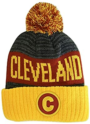 BVE Sports Novelties Cleveland C Patch Ribbed Cuff Knit Winter Hat Pom Beanie