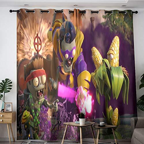 Sdustin Plants vs. Zombies - Cortinas para ventana (140 x 183 cm), diseño de cómics con texto en inglés 'Plants vs. Zombies Comic', multicolor (tela de poliéster)