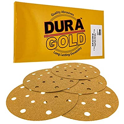 """Dura-Gold - Premium - 60 Grit - 6"""" Gold Sanding Discs - 17-Hole Pattern Dustless Hook and Loop for DA Sander - Box of 50 Finishing Sandpaper Discs for Woodworking or Automotive"""