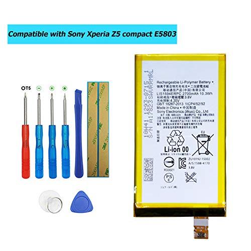 Upplus LIS1594ERPC - Batería de Repuesto Compatible con Sony Xperia Z5 Compact E5803 E5823 con Kit de Herramientas