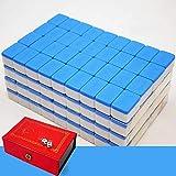 GCT Versión De Mahjong Chino Tradicional Juego Set Portable 144 Fichas De Material Acrílico Mahjong Family Travel Ocio, 4 Colores,Azul
