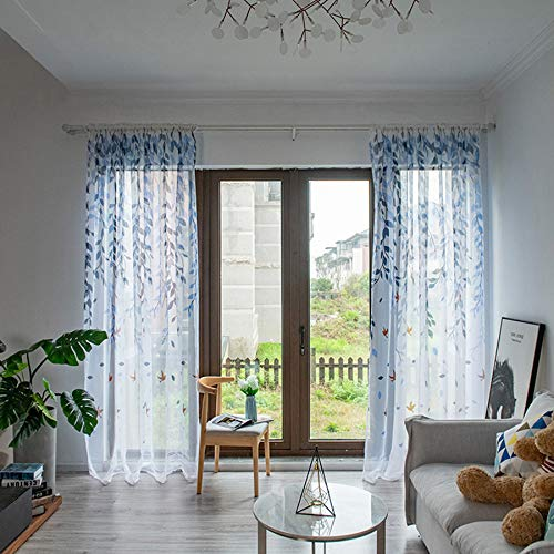 charmsamx 78' x 39' Sheer Curtains Window Voile Panels for Bedroom & Kitchen, Leaves Willow Sheer Curtain Tulle Window Treatment Voile Drape Valance Spring Scene (blue)