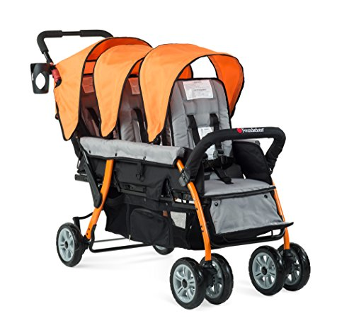 Check Out This Foundations Triple Sport 3-Seat Folding Tandem Stroller with Canopy, Orange