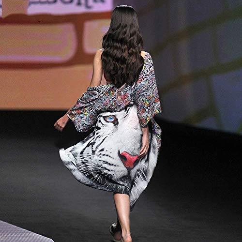 Yyh Cardigan Fashion Damesbroek, lange mouwen, gesplit, bloemenpatroon, lange chiffon, robe mantel, strand-vertuvingsblouse Eén maat A