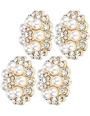 Schoendecoratie Clip, Bloemenschoen(Golden round diamond pearl)