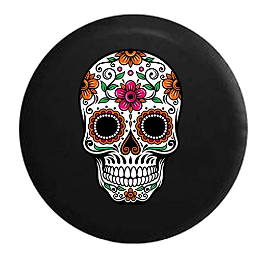 556 Gear Sugar Skull Orange Pink Green Spare Tire Cover fits SUV Camper RV Accessories Black 32 in