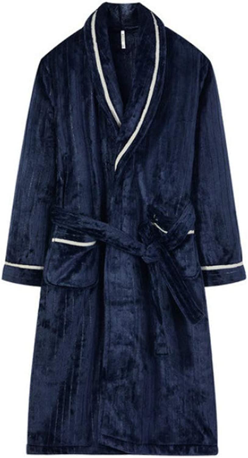 Bathrobe Ladies Flannel Long Bathrobes Warm and Comfortable Couple Style Pajamas Shawl (color   Navy bluee Men, Size   165 88A)
