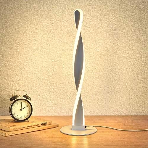 ZMH Lámpara de mesa LED de aluminio moderna lámpara de mesa blanco cálido lámpara de mesa lámpara de noche protección ocular brillo regulable con interruptor LED lámpara de mesa para dormitorio salón