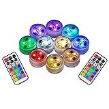 10pcs RGB Unterwasser LED Leuchten Tauch Multicolor 100% Wasserdichte LED Kerze Teelicht CR2450...