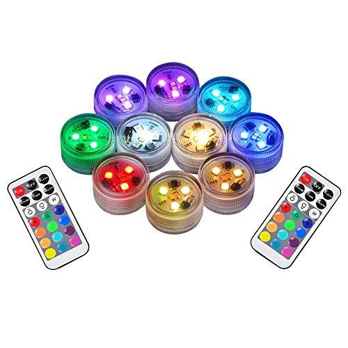 10pcs RGB Unterwasser LED Leuchten Tauch Multicolor 100{027364b9d6c72117cb5af2586fda1f36be25351ef742fbcce77b523f8621da70} Wasserdichte LED Kerze Teelicht CR2450 Stimmungslicht Batteriebetrieben mit IR-Fernbedienung für Vase Schüsseln Schwimmbad Aquarium Party