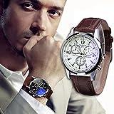 Meily Moda de lujo de imitación de cuero para hombre Blue Ray Vidrio Relojes analógicos de...