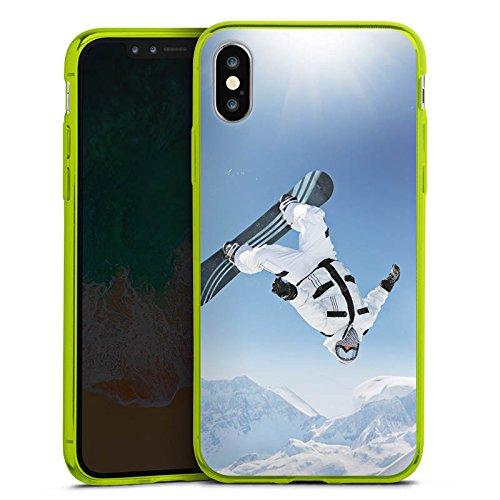 DeinDesign Cover kompatibel mit Apple iPhone X Slim Case transparent neon grün Silikon Hülle Schutzhülle Snowboard Snow Schnee