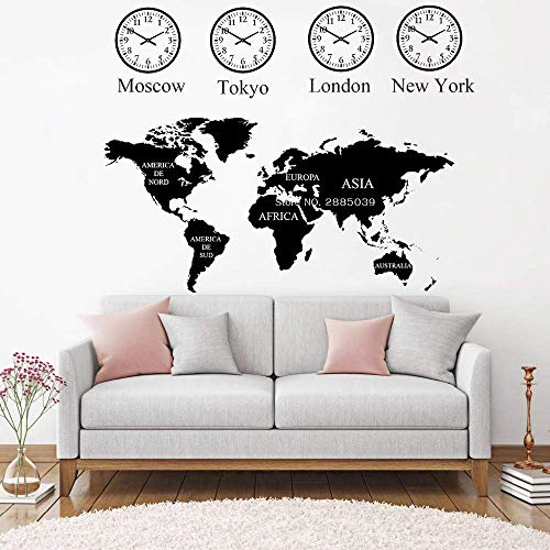Moskau, Tokio, London, New York Uhr Weltkarte Wandtattoo Büro Wanddekoration Wandbild Weltkarte Aufkleber Künstler Residenz Dekoration 72Cmx 56Cm