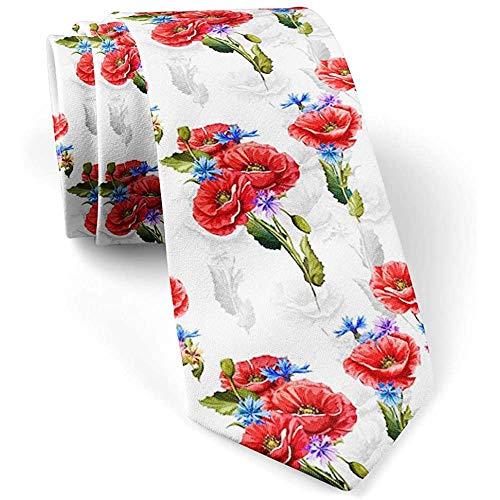 [Poppy Cornflowers] Krawatte für Männer, Neuheit Conversational Neckwear Ties - Perfektes Geschenk