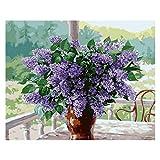 junengSO Punto de Cruz, Pintura Adultos y niños, Kits de Pintura al óleo DIY, Lienzo preimpreso, jardín, lavend